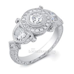 14k White Gold Vintage Style Half Moon Engraved Diamond Engagement Ring