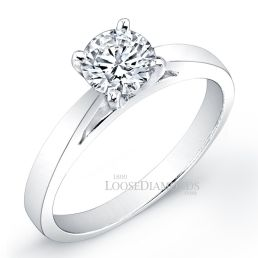 14k White Gold Modern Style Solitaire Engagement Ring