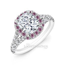 14k White Gold Modern Style Pink Diamond Halo Engagement Ring