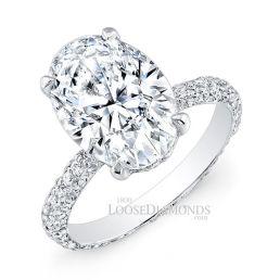 14k White Gold Classic Style Eternity Diamond Engagement Ring
