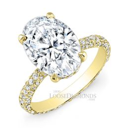14k Yellow Gold Classic Style Eternity Diamond Engagement Ring