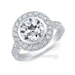 18k White Gold Vintage Style Hand Engraved Diamond Halo Engagement Ring