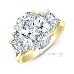 14k Yellow Gold Classic Style Oval Diamond Ring