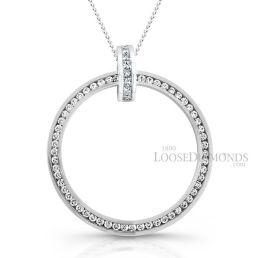 14k White Gold Modern Style Circular Two-Tone Gold Diamond Pendant