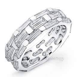 14k White Gold Men's Baguette Diamond Wedding Band
