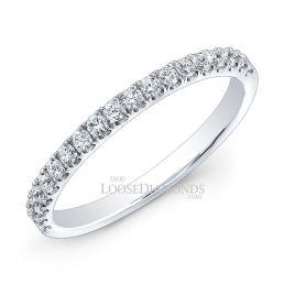 14k White Gold Modern Style Half Eternity Diamond Wedding Band