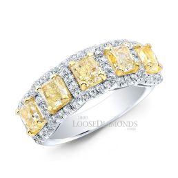 14k White Gold Modern Style Fancy Intense Yellow Diamond Ring