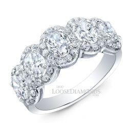 14k White Gold Modern Style Oval Diamond Halo Wedding Band