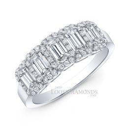 14k White Gold Modern Style Diamond Emerald Wedding Ring