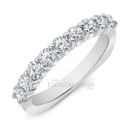 14k White Gold Modern Style Euro Shank Diamond Wedding Band
