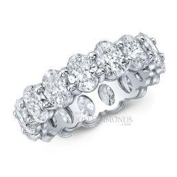 14k White Gold Modern Style Eternity Diamond Wedding Band