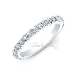 14k White Gold Modern Style Diamond Eternity Wedding Band