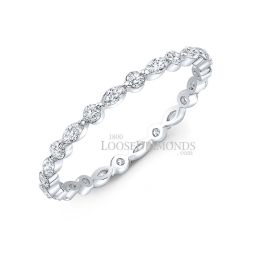 14k White Gold Modern Style Marquise And Round Diamond Band