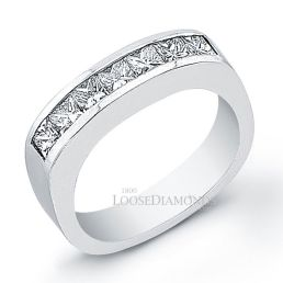 14k White Gold Men's Modern Style Princess Cut Diamond Wedding Band