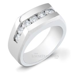 14k White Gold Men's Classic Style Diamond Engagement Ring
