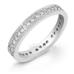 14k White Gold Round Diamond Eternity Wedding Band