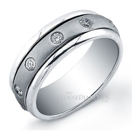 14k White Gold Modern Style Men's Diamond Wedding Band