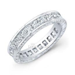 14k White Gold Vintage Style Hand Engraved Diamond Wedding Band