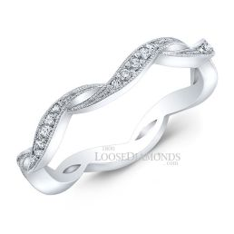 14k White Gold Vintage Style Engraved Curved Wedding Ring