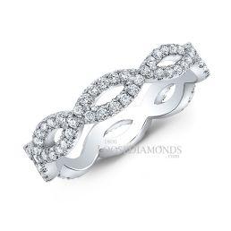 14k White Gold Modern Style Twisted Shank Diamond Matching Wedding Band