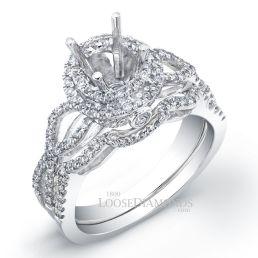 14k White Gold Modern Style Twisted Shank Halo Diamond Wedding Set