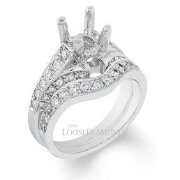 14k White Gold Art Deco Style Hand-Engraved Diamond Wedding Set