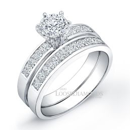14k White Gold Modern Style Invisible Diamond Wedding Set