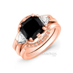 18k Rose Gold Modern Style Diamond Wedding Set