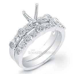 18k White Gold Vintage Style Diamond Wedding Set