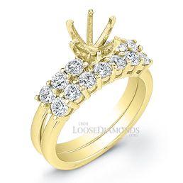 18k Yellow Gold Classic Style Diamond Wedding Set