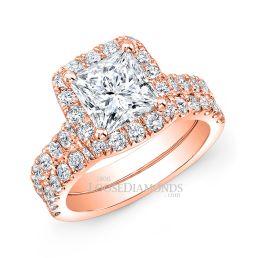 18k Rose Gold Modern Style Halo Diamond Wedding Set