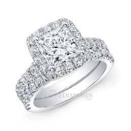 18k White Gold Modern Style Halo Diamond Wedding Set
