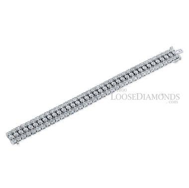 14k White Gold Vintage Style Engraved Diamond Bracelet