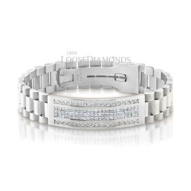 14k White Gold Men's Diamond Bracelet