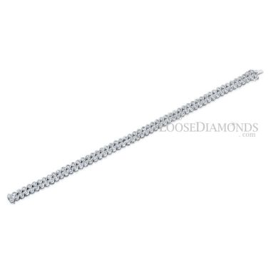 14k White Gold Vintage Style Round Diamond Bracelet