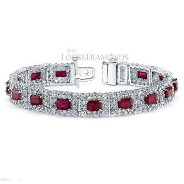 14k White Gold Classic Style Diamond & Ruby Bracelet