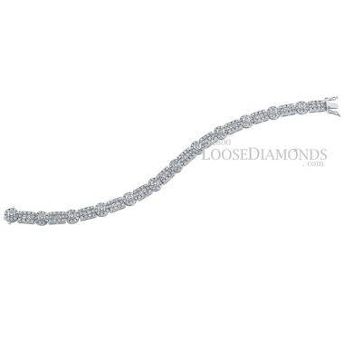 14k White Gold Vintage Style Round & Princess Cut Diamond Bracelet
