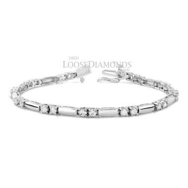 14k White Gold Classic Style Round Diamond Bracelet