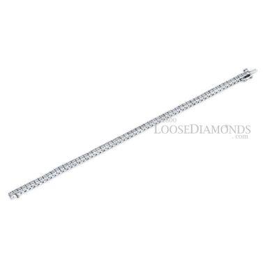 14k White Gold Classic Style Princess Cut Diamond Tennis Bracelet