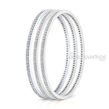 14k White Gold Classic Style Engraved Eternity Diamond Bangle Set