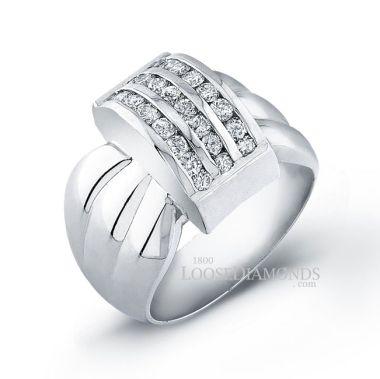 14k White Gold Modern Style Three-Row Diamond Cocktail Ring