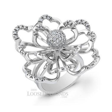 14k White Gold Modern Style Diamond Flower Cocktail Ring