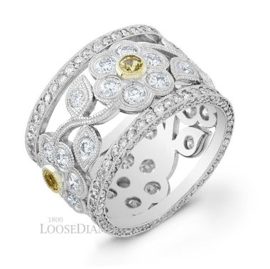 14k White Gold Vintage Floral Style Engraved Diamond & Yellow Sapphire Cocktail Ring