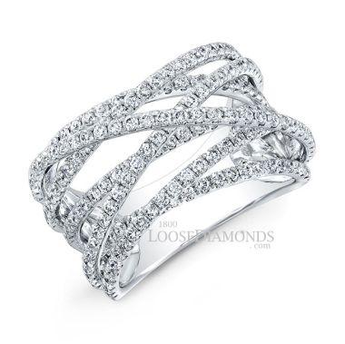 14k White Gold Modern Style Diamond Cocktail Ring