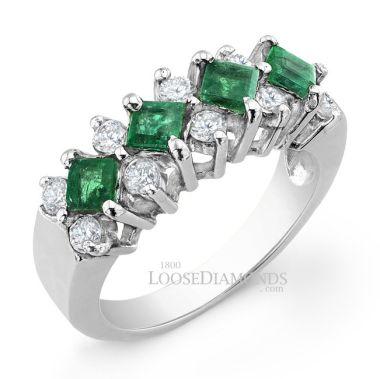 14k White Gold Vintage Style Diamond & Emerald Cocktail Ring