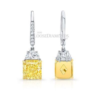 14k White Gold Dangling Fancy Diamond Earrings