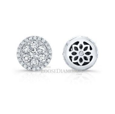 14k White Gold Modern Style Diamond Halo Earring