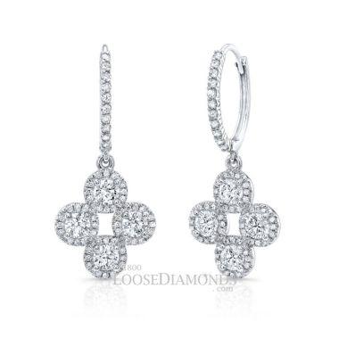 14k White Gold Dangling Diamond Earrings