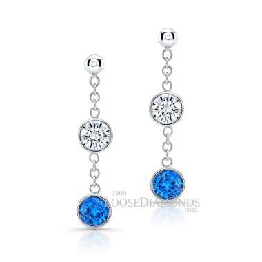14k White Gold Dangling Diamond & Sapphire Earrings