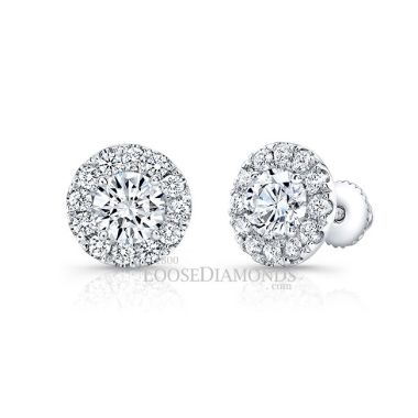 14k White Gold Modern Style Halo Round Diamond Earrings